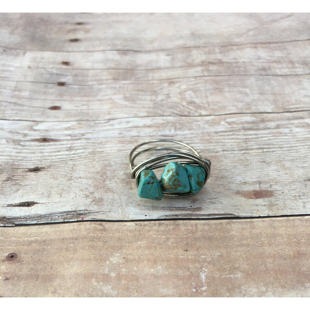 Turquoise Gemstone Chip Silver Plated Wire wrap Ring Custom Size Spirituality and Healing and Power December Birthstone - Aromatherapy Jewelry