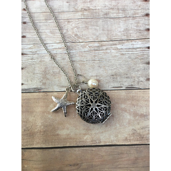 Starfish and Freshwater Pearl Gemstone Essential Oil Diffuser Locket Pendant Necklace Healing and long necklace Essential Oil Necklace - Aromatherapy Jewelry