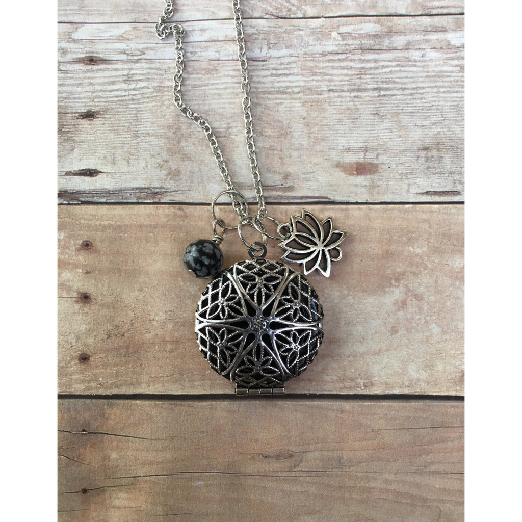 Lotus Flower and Snow Flake Obsidian Essential Oil Diffuser Necklace Essential oil Locket Pendant Necklace long pendant - Aromatherapy Jewelry