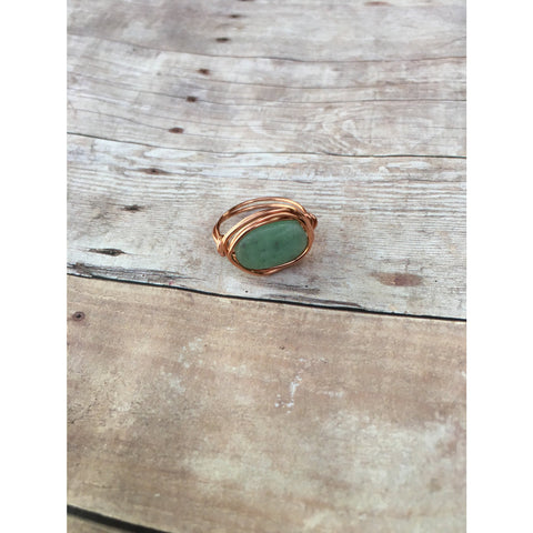 Amazonite Gemstone Copper Wire wrap Ring Custom Size Spirituality and Healing Custom Ring Size - Aromatherapy Jewelry