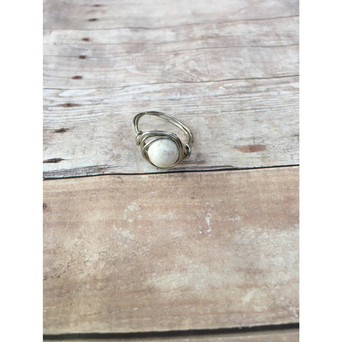Howlite Gemstone Silver Plated Wire wrap Ring Custom Size Spirituality and Healing Custom Ring Size