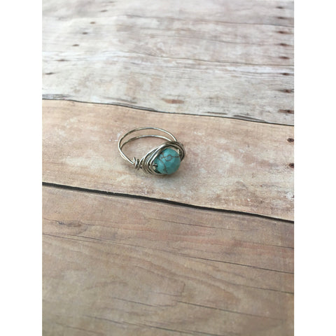 Turquoise Gemstone Silver Plated Wire wrap Ring Custom Size Spirituality and Healing Custom Ring Size - Aromatherapy Jewelry