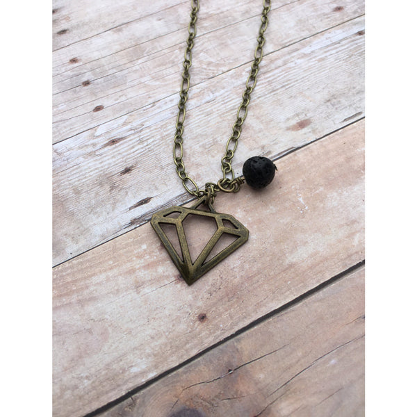 Diamond Key Antique Bronze Essential Oil Diffuser Pendant Necklace Healing and long necklace Essential Oil Necklace Diffuser Necklace Aromat