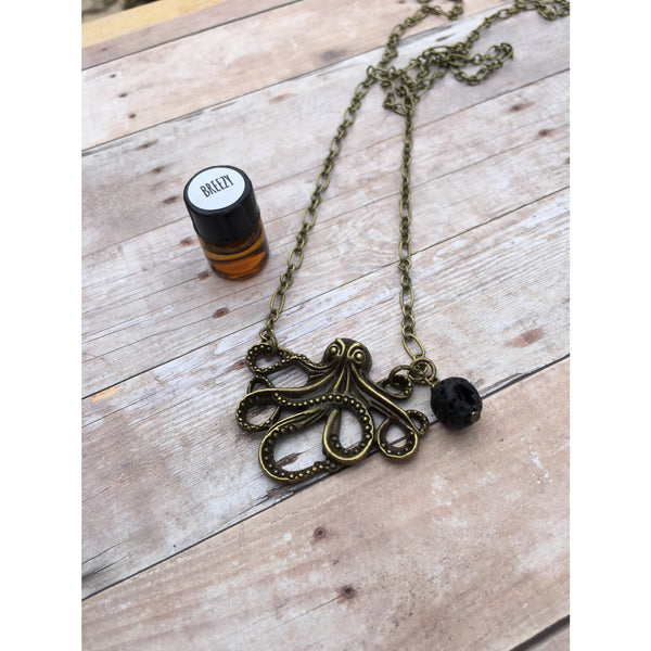 Octopus Antique Bronze Essential Oil Diffuser Pendant Necklace Healing and long necklace Essential Oil Necklace Diffuser Necklace Aromat - Aromatherapy Jewelry