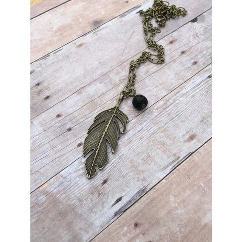 Feather Deathly Hallows Antique Bronze Essential Oil Diffuser Pendant Necklace Healing and long necklace Essential Oil Necklace Diffuse - Aromatherapy Jewelry