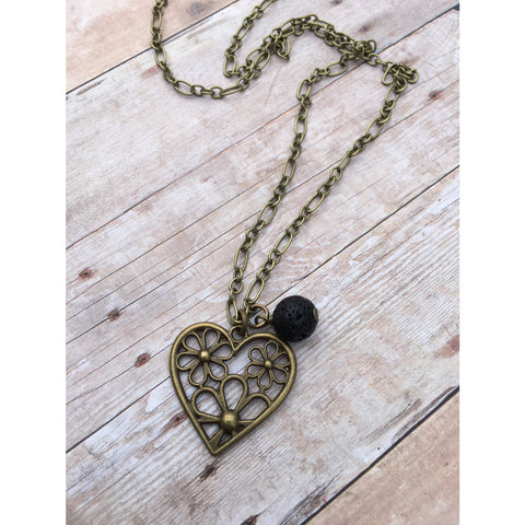Daisy Heart Antique Bronze Essential Oil Diffuser Pendant Necklace Healing and long necklace Essential Oil Necklace Diffuse