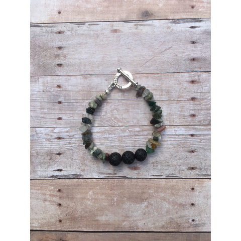 Fancy Jasper Essential Oil Diffuser Bracelet with Lava Beads