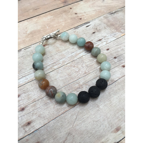 Amazonite Mens Essential Oil Diffuser Bracelet - Aromatherapy Jewelry