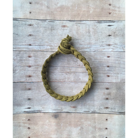 Olive Mens Braided Bracelet