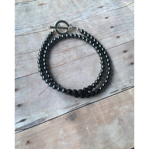 Small Hematite Double Wrap Essential Oil Bracelet