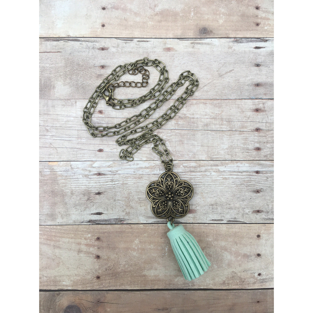 Sea Foam Bronze Filigree Flower Suede Tassel Diffuser Necklace