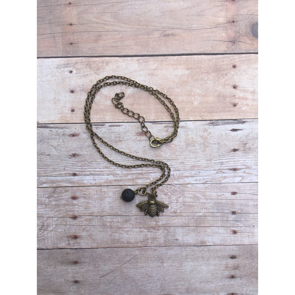 Rustic Bee Bronze Lava Stone Necklace