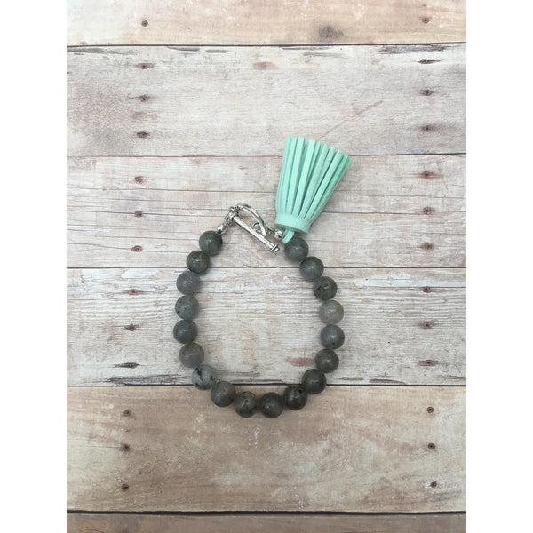 Labarorite and Sea Foam Suede Tassel Aromatherapy Bracelet