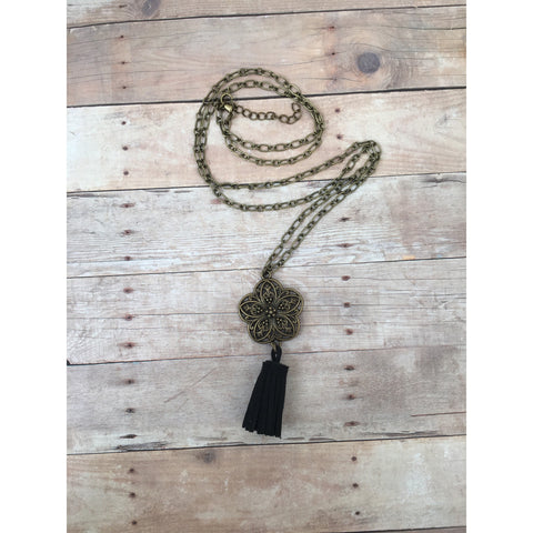 Black Antique Bronze Filigree Flower Suede Tassel Diffuser Necklace
