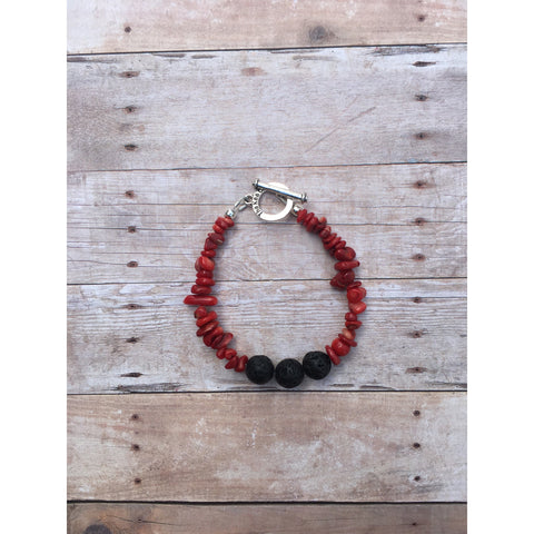 Coral Essential Oil Diffuser Bracelet with Lava Beads