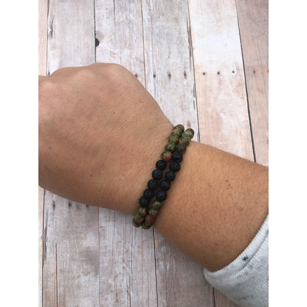 Tigers Eye Double Wrap Essential Oil Bracelet