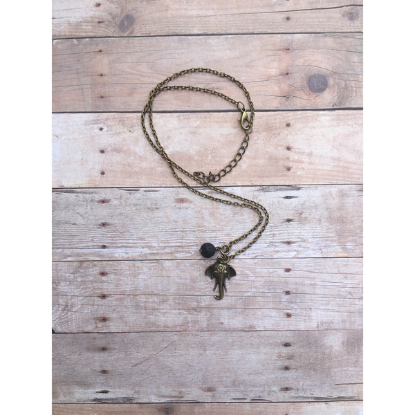 Rustic Elephant Bronze Lava Stone Necklace