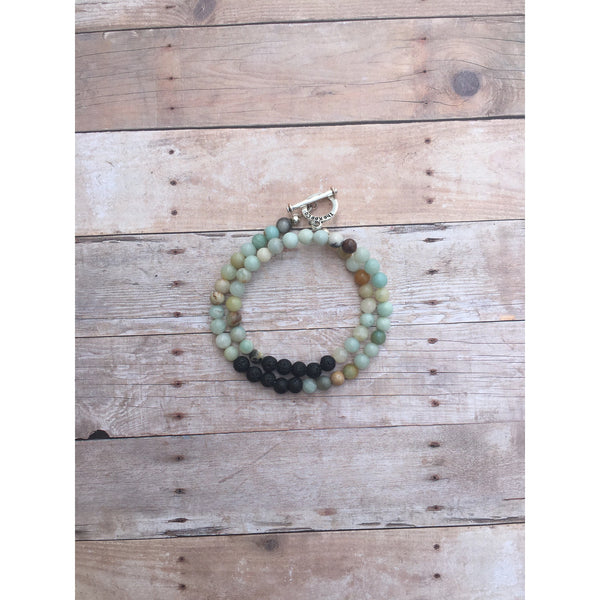 Amazonite Double Wrap Essential Oil Diffuser Bracelet with Lava Stone Beads