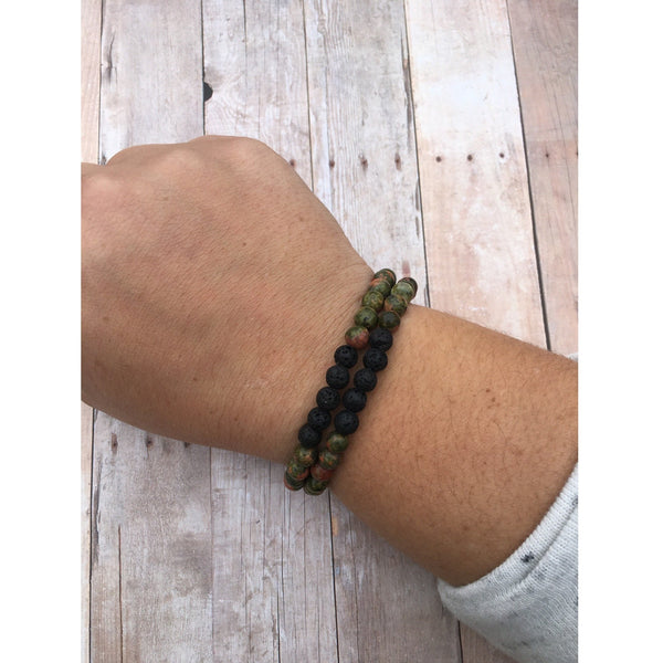 Dalmatian Jasper Double Wrap Essential Oil Diffuser Bracelet with Lava Stone Beads
