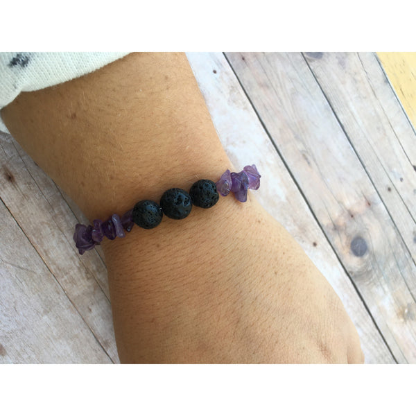 Howlite Chip Essential Oil Diffuser Bracelet with Lava Beads