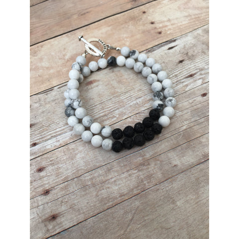 Howlite Double Wrap Essential Oil Diffuser Bracelet with Lava Stone Beads