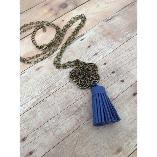Royal Blue Antique Bronze Filigree Flower Suede Tassel Diffuser Necklace