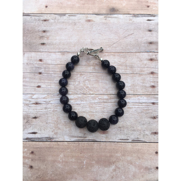 Blue Goldstone Essential Oil Gemstone Bracelet