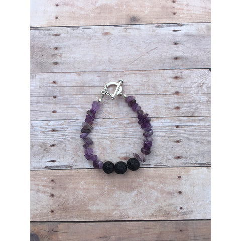 Amethyst Essential Oil Diffuser Bracelet with Lava Beads