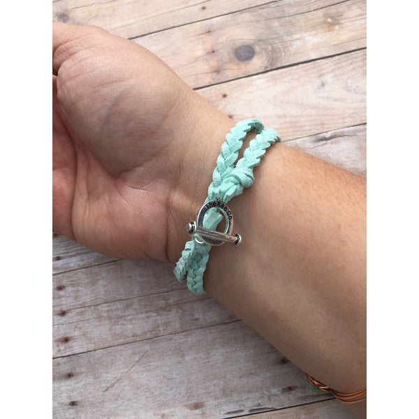 Sea Foam Double Braided Suede Aromatherapy Bracelet