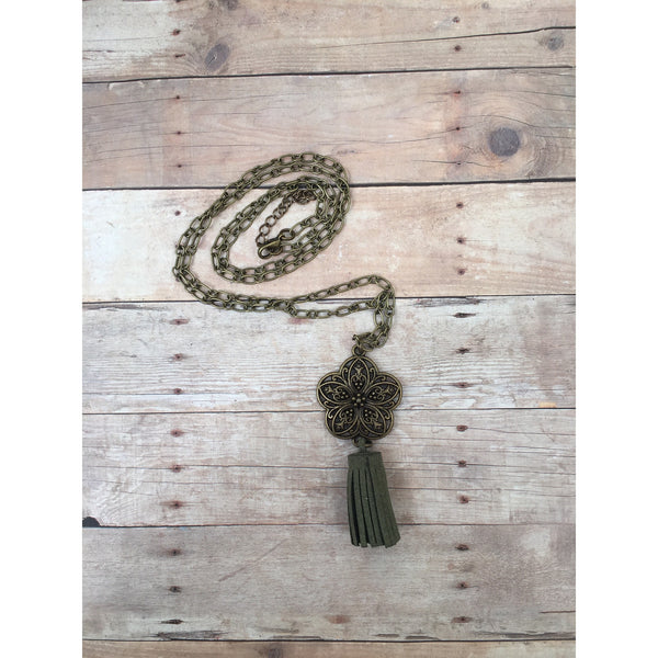 Olive Antique Bronze Filigree Flower Suede Tassel Diffuser Necklace