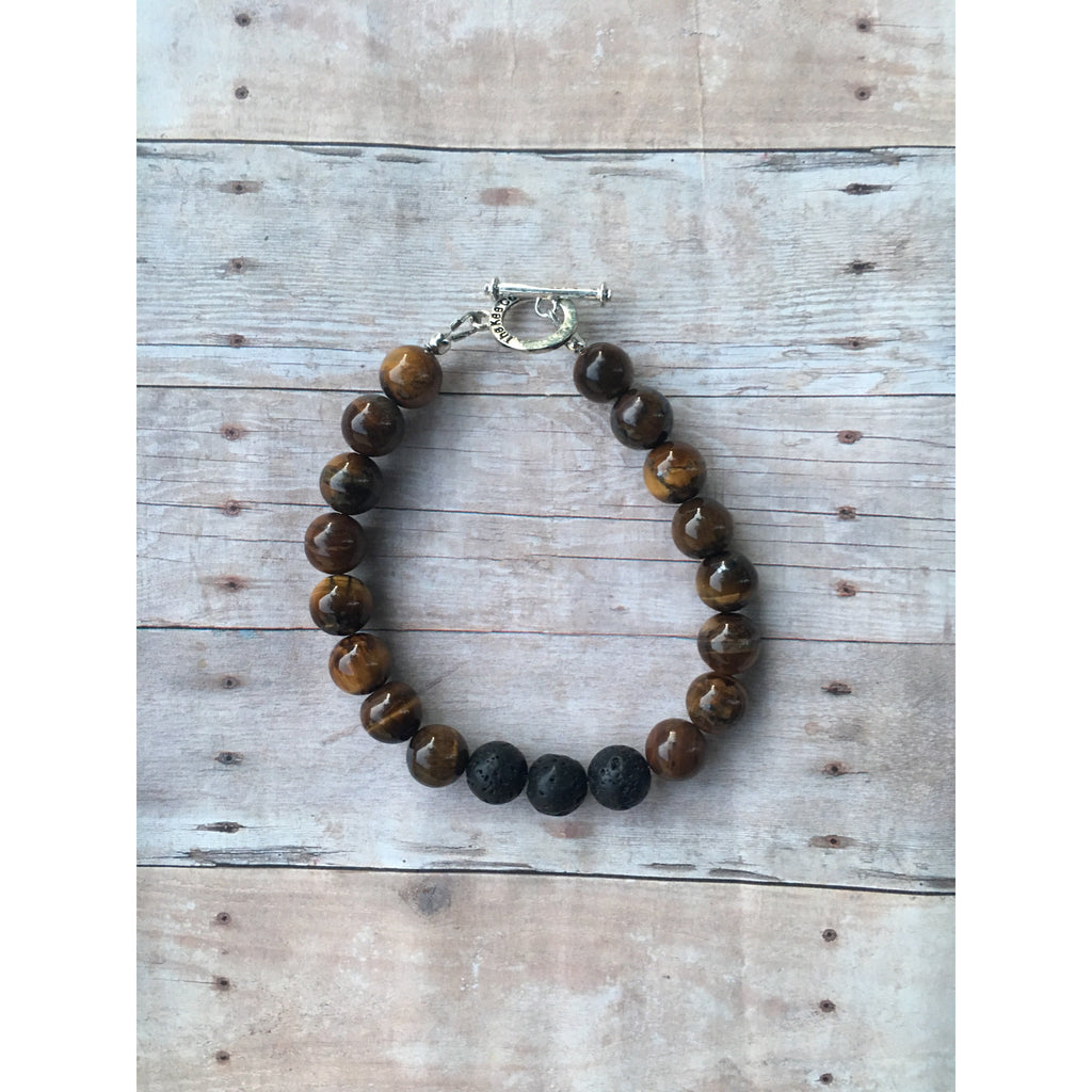 Tigers Eye Mens Essential Oil Diffuser Bracelet