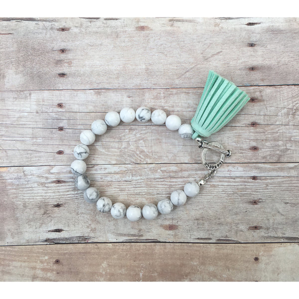 Howlite and Sea Foam Tassel Aromatherapy Bracelet