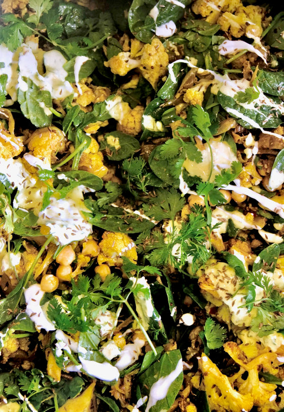 Indian Spiced Cauliflower & Chickpea Salad - catering