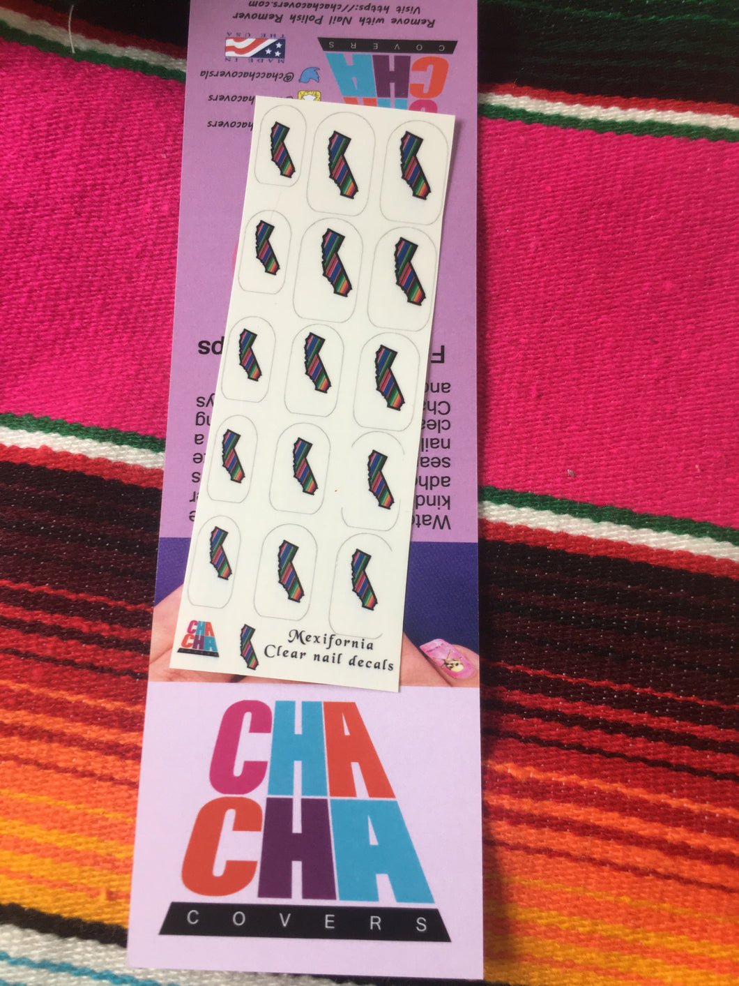 California Zarape clear Nail decals