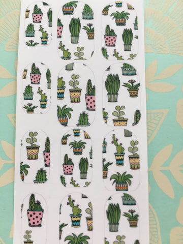 Cactus Summer pots clear nail decals