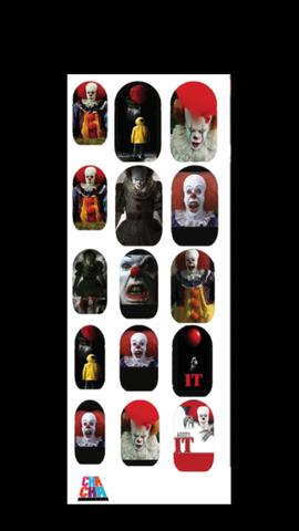 New It the Clown Halloween Nail Decals
