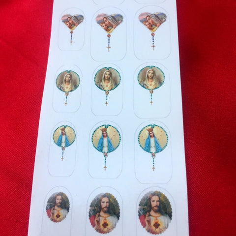 Catholic rosary nail decals