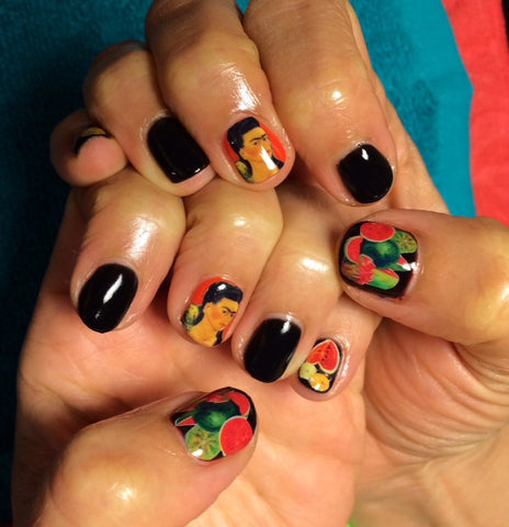 Frida Kahlo with Watermelon Still Life Nail Decals