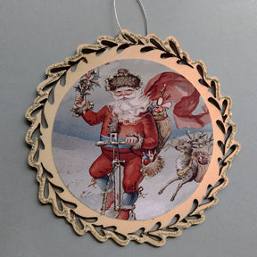 New Lasercut Ornament Santa on Bike #4571