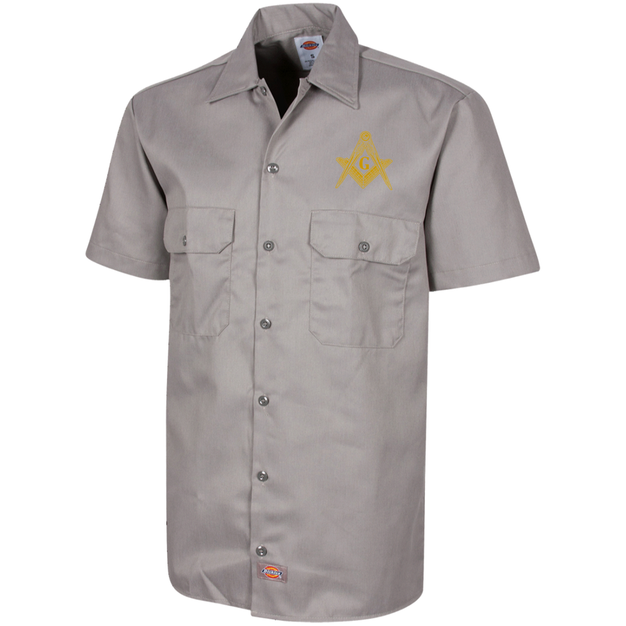 Official Dickie's Square & Compass Work Shirt [Small Tan]