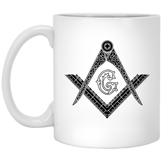 Square & Compass White Mug (Black Logo)