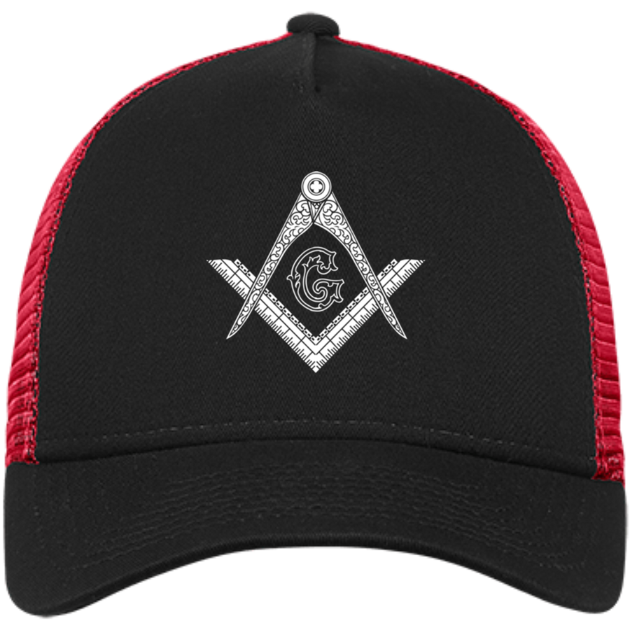 Square & Compass White Logo Hat