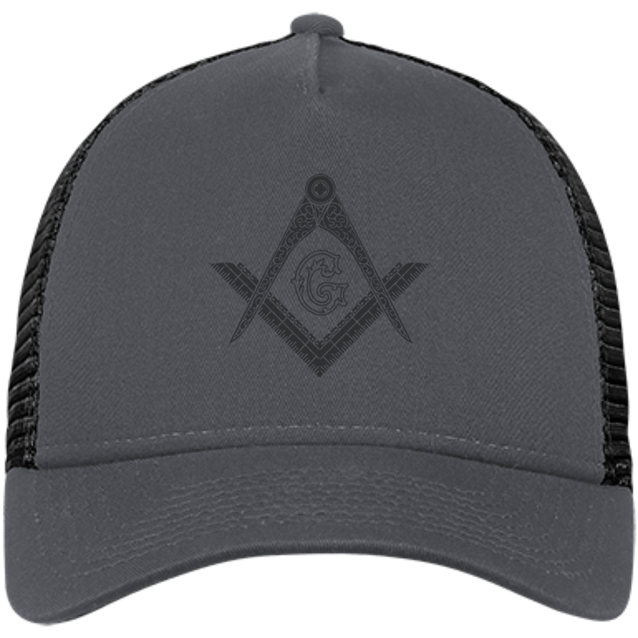 Square & Compass Black Logo Hat