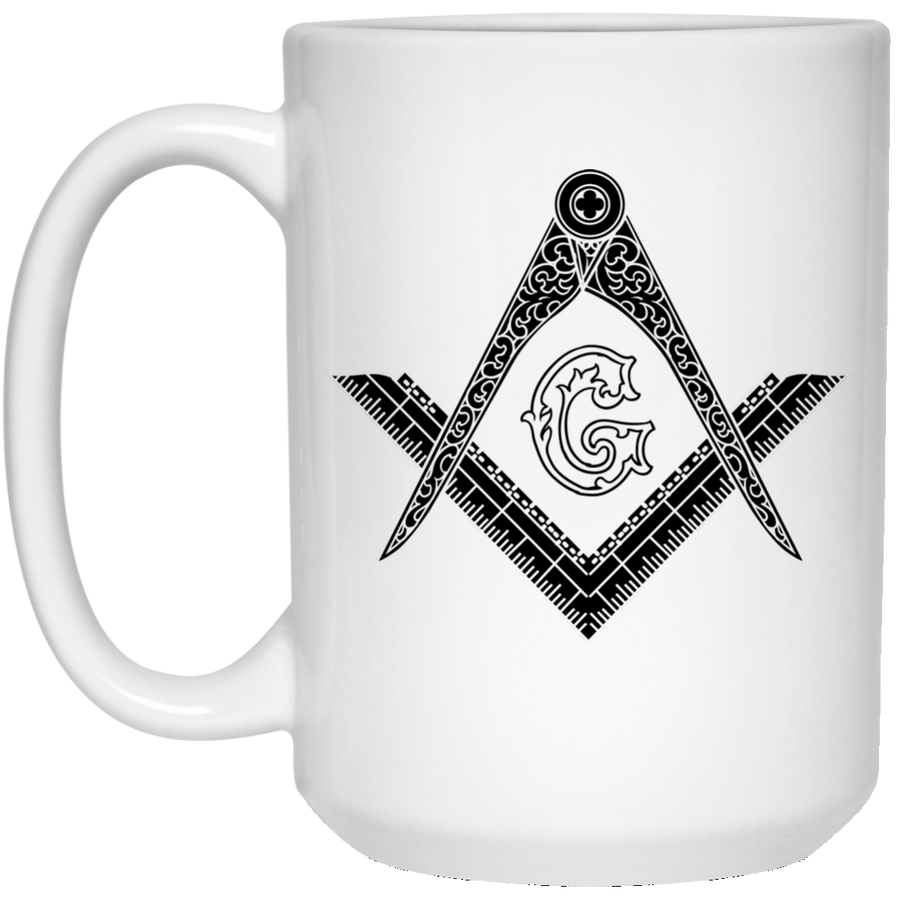 Square & Compass Large Mug (Black Logo)
