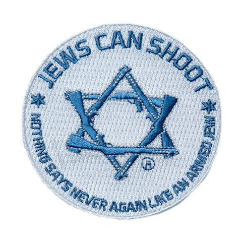 "Jews Can Shoot - ""Nothing says 'Never Again' like an armed Jew"" patch - Two color"