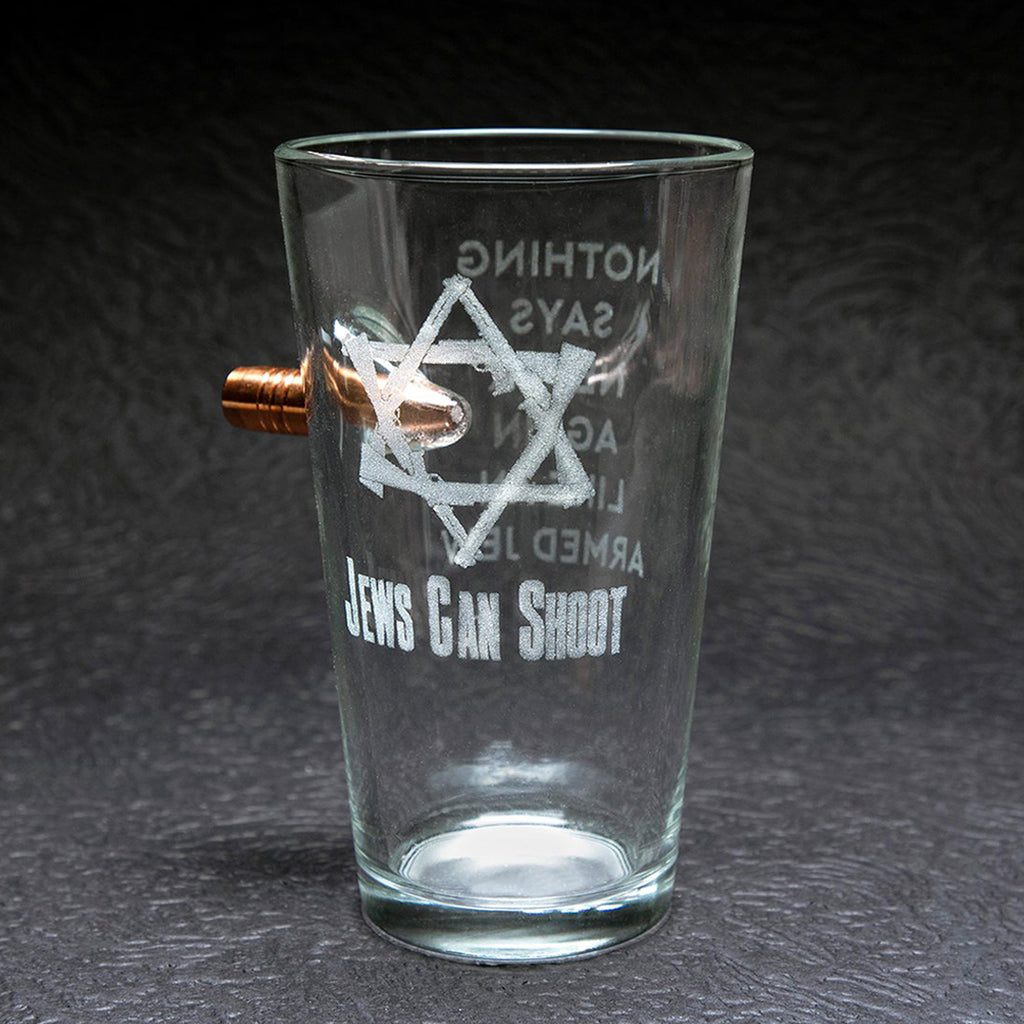 Jews Can Shoot Ben Shot Pint Beer Glass - 16 0z