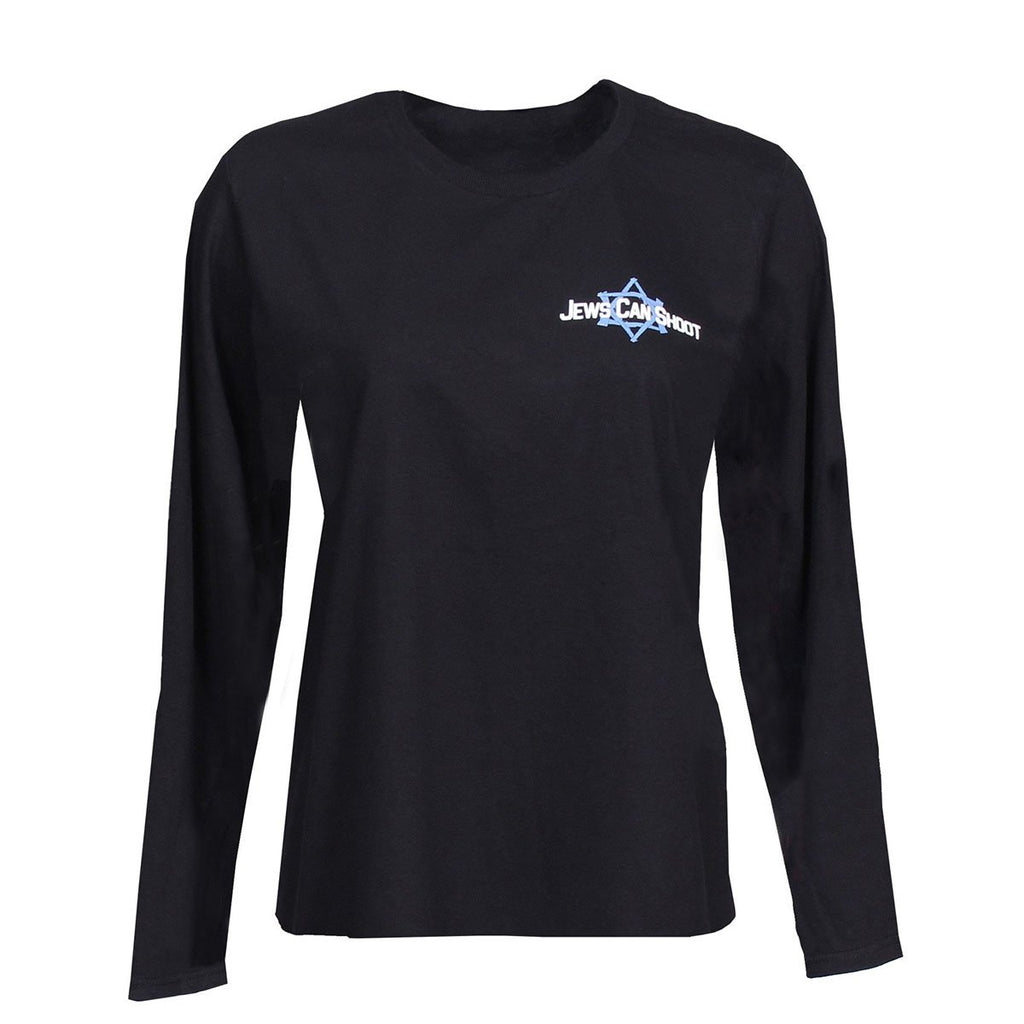 Ladies long sleeve cotton tee shirt with Jews Can Shoot logo