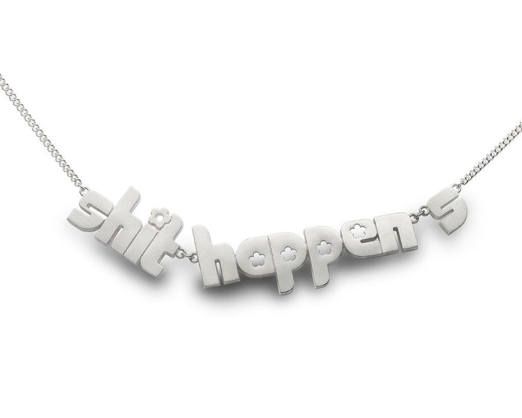 shit happens - sterling silver necklace