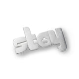 stay - sterling silver pin