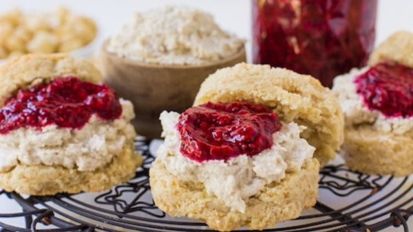 Macadamia Scones with Raspberry Chia Jam and Macadamia cream